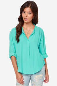 Lucy Love Pickadilly Turquoise Top at Lulus.com!