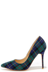 Who's Plaid! Green Plaid Pumps at Lulus.com!