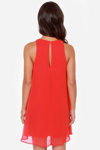 Chiff-On the Run Red Dress at Lulus.com!