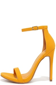 Boldest Trick in the Book Yellow Nubuck Ankle Strap Heels at Lulus.com!