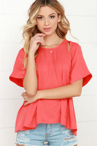 Cutie-Frutti Coral Red Top at Lulus.com!