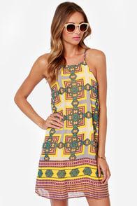 Geometric Miss Yellow Print Dress at Lulus.com!