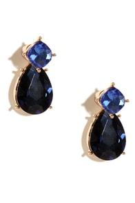 Forever Yours Blue Rhinestone Peekaboo Earrings at Lulus.com!