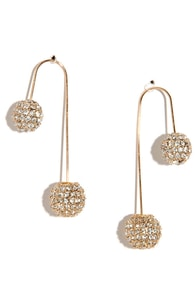 Hook It Up Gold Rhinestone Threader Earrings at Lulus.com!