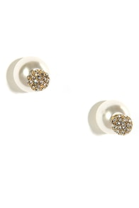 Belle of the Ball Pearl and Rhinestone Earrings at Lulus.com!