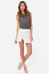 Zipper-fection Ivory Mini Skirt at Lulus.com!