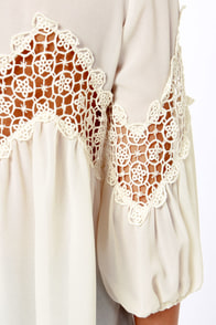 Billow Talk Sheer Cream Lace Top at Lulus.com!