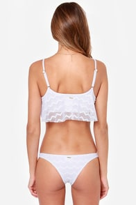 Roxy Cropped Tankini White Lace Bikini at Lulus.com!