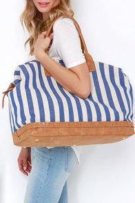 I Think I Canvas Blue Striped Weekender Bag at Lulus.com!
