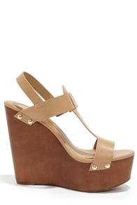 Emily 32 Natural Platform Wedge Sandals at Lulus.com!