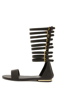 Ongee 11 Black Tall Caged Gladiator Sandals