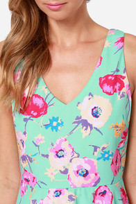 Grand Poppy Mint Floral Print Dress at Lulus.com!
