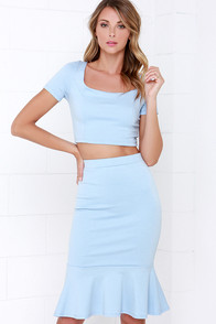Chic Magnet Light Blue Two-Piece Dress at Lulus.com!