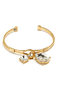 Rain or Shine Gold and Rhinestone Bracelet at Lulus.com!