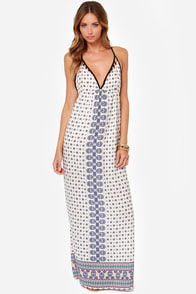 Piece of the Action Ivory Print Maxi Dress at Lulus.com!