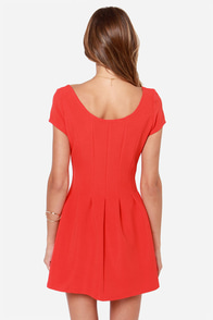 Seam Team Orange Red Skater Dress at Lulus.com!
