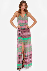 Say No Amore Green and Pink Print Maxi Dress at Lulus.com!