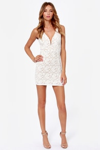 Fashion Lace Off Ivory Lace Dress at Lulus.com!