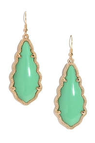 Zealous Zingara Gold and Jade Green Earrings at Lulus.com!
