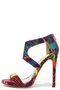 Twirl-Wind Multi Print Dress Sandals at Lulus.com!
