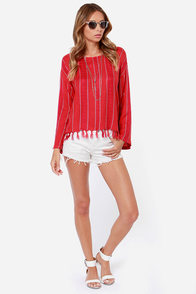 Billabong The Heart Seas Striped Red Top at Lulus.com!