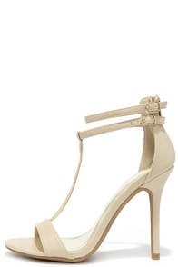 Show Shine Natural T Strap Heels at Lulus.com!