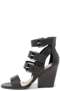Very Volatile Martel Black Leather Caged Heels at Lulus.com!