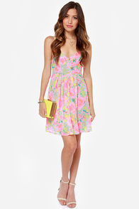 Fleur of the Moment Neon Pink Floral Print Dress at Lulus.com!