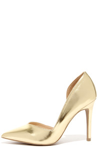 Everyday O-Curve-ence Gold D'Orsay Pumps at Lulus.com!