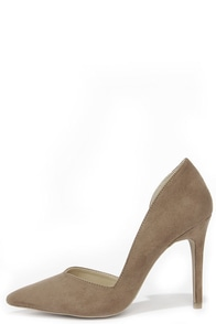 Everyday O-Curve-ence Taupe Suede D'Orsay Pumps at Lulus.com!