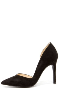 Everyday O-Curve-ence Black Suede D'Orsay Pumps at Lulus.com!