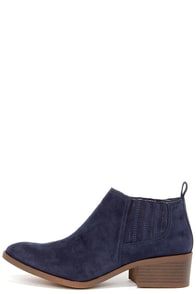 BC Footwear Stand Up Straight Navy Suede Ankle Boots at Lulus.com!