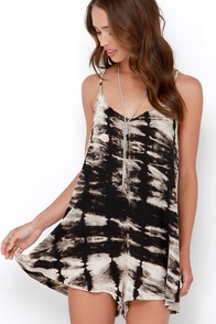 Unbridled and Untamed Black and Cream Tie-Dye Romper at Lulus.com!