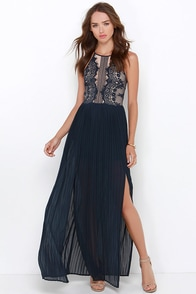 Night Falls and Rises Midnight Blue Lace Maxi Dress at Lulus.com!