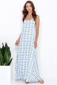 Meridian Arc Ivory and Blue Print Halter Maxi Dress at Lulus.com!