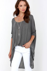 Train of Thought Washed Grey Oversized Top at Lulus.com!