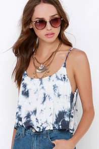 Amuse Society Bungalow Blue Tie-Dye Crop Top at Lulus.com!
