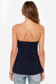 LULUS Exclusive Cutest Colony Strapless Navy Blue Top at Lulus.com!