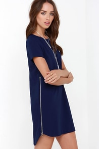 New Era Navy Blue Shift Dress at Lulus.com!