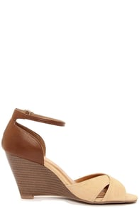 City Classified Missy Beige and Tan Peep Toe Wedge Sandals at Lulus.com!