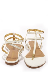 City Classified Daren White and Gold Ankle Strap Thong Sandals at Lulus.com!