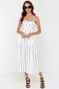 Keepsake True Awakening Black and White Striped Jumpsuit at Lulus.com!