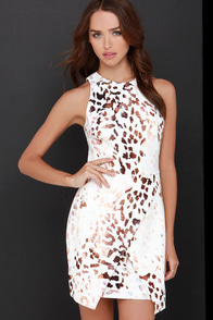 Keepsake Such Great Heights Brown and Ivory Print Dress at Lulus.com!