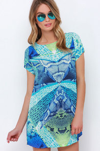 Snake It to the Limit Blue Print Dress at Lulus.com!