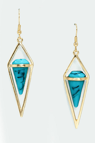 Goddess Temple Gold and Turquoise Earrings at Lulus.com!