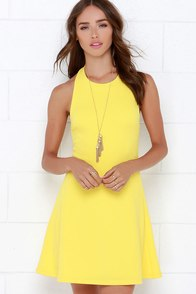 Count On Me Yellow Halter Dress at Lulus.com!