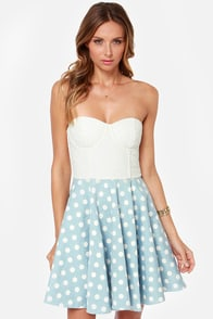 Mink Pink Sugar Magnolia Blue and Ivory Polka Dot Dress at Lulus.com!