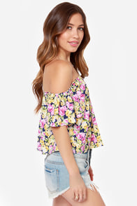 Living in Zen Navy Blue Floral Print Top at Lulus.com!
