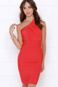 Exchanging Glances Coral Red One Shoulder Dress at Lulus.com!