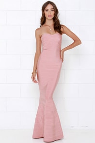 Star Song Blush Pink Strapless Maxi Dress at Lulus.com!